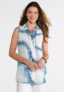 Plus Size Lace Up Tie-Dye Denim Shirt