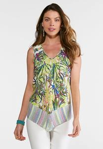 Plus Size Tropical Neon Leaf Print Top