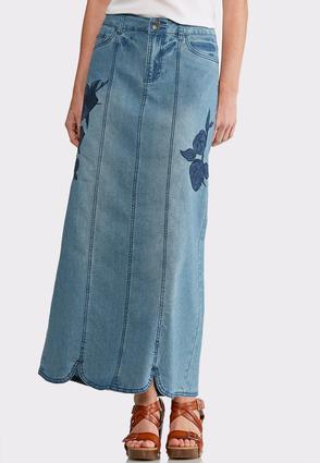 Tonal Embroidrered Denim Maxi Skirt | Tuggl