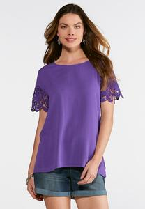 Scalloped Crochet Sleeve Top