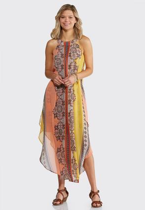 Plus Size Flyaway Printed Maxi Dress | Tuggl