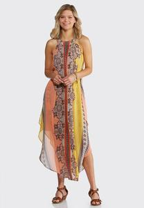 Plus Size Flyaway Printed Maxi Dress