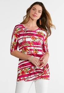 Plus Size Knotted Floral Stripe Top