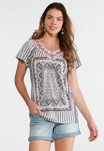 Lace Embellished Mixed Print Top