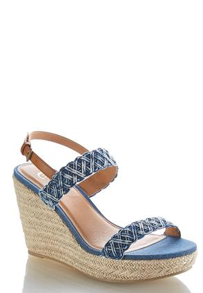 Denim Strap Woven Wedges at Cato in Brooklyn, NY | Tuggl