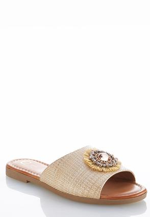 Embellished Woven Slide Sandals | Tuggl