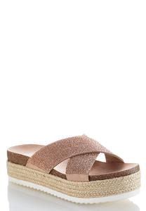 Embellished Cross Band Flatform Wedges
