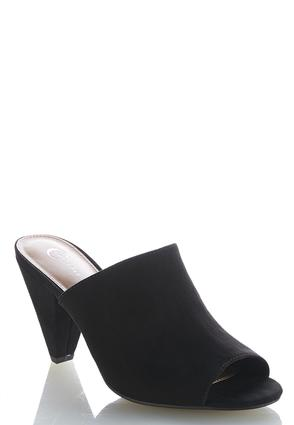 Faux Suede Cone Heel Slides   Tuggl