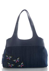 Butterfly Patch Denim Satchel