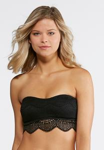Plus Size Scalloped Lace Strapless Bra