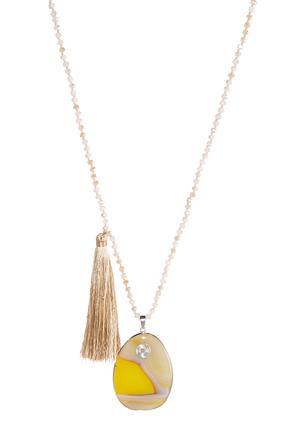 Tan Tassel Stone Necklace | Tuggl