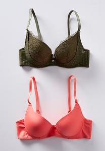 Green Lace And Coral Bra Set