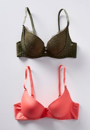 Plus Size Green Lace And Coral Bra Set