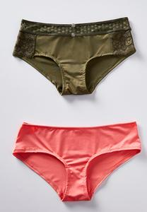 Plus Size Green Lace And Coral Panty Set