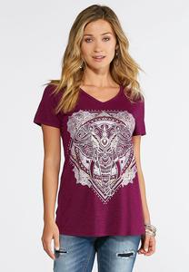 Plus Size Abstract Elephant Tee