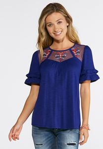Plus Size Ruffled Floral Embroidered Top