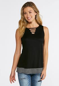 Plus Size Lattice V-Neck Striped Tank