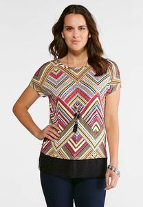 Chevron Lace Hem Top
