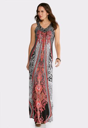Plus Size Silver Bead Embellished Maxi Dress | Tuggl