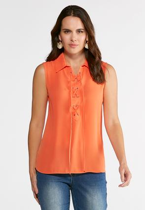 Plus Size Lace Up Collar Top