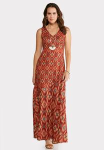 Plus Size Modern Medallion Maxi Dress