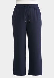 Plus Size Navy Tie Waist Pants