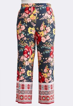 Plus Size Summer Floral Palazzo Pants