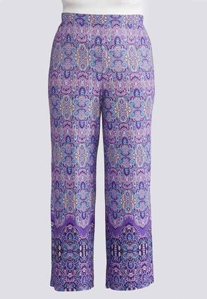 Plus Size Purple Paisley Palazzo Pants | Tuggl