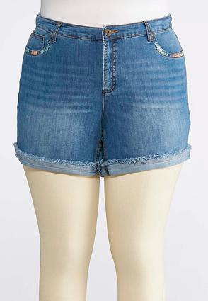 Plus Size Multicolored Stitch Denim Shorts | Tuggl