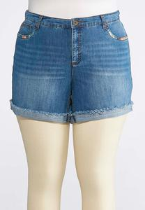 Plus Size Multicolored Stitch Denim Shorts