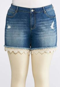 Plus Size Crochet Denim Shorts