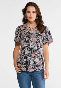 Lattice V-Neck Floral Top