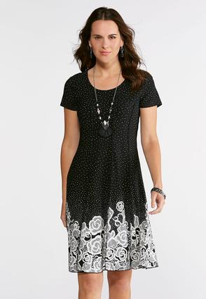 Seamed Dotted Puff Print Dress | Tuggl