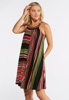 Plus Size Colorful Stripe Swing Dress | Tuggl
