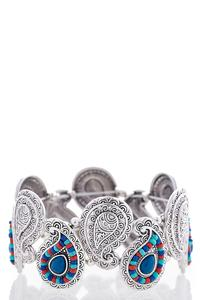 Beaded Etched Paisley Stretch Bracelet