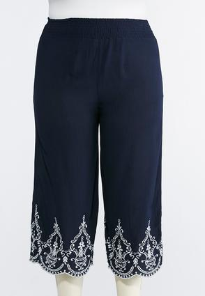 Plus Size Embroidered Wide Leg Pants