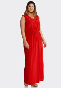 Plus Size Solid Zip Front Maxi Dress