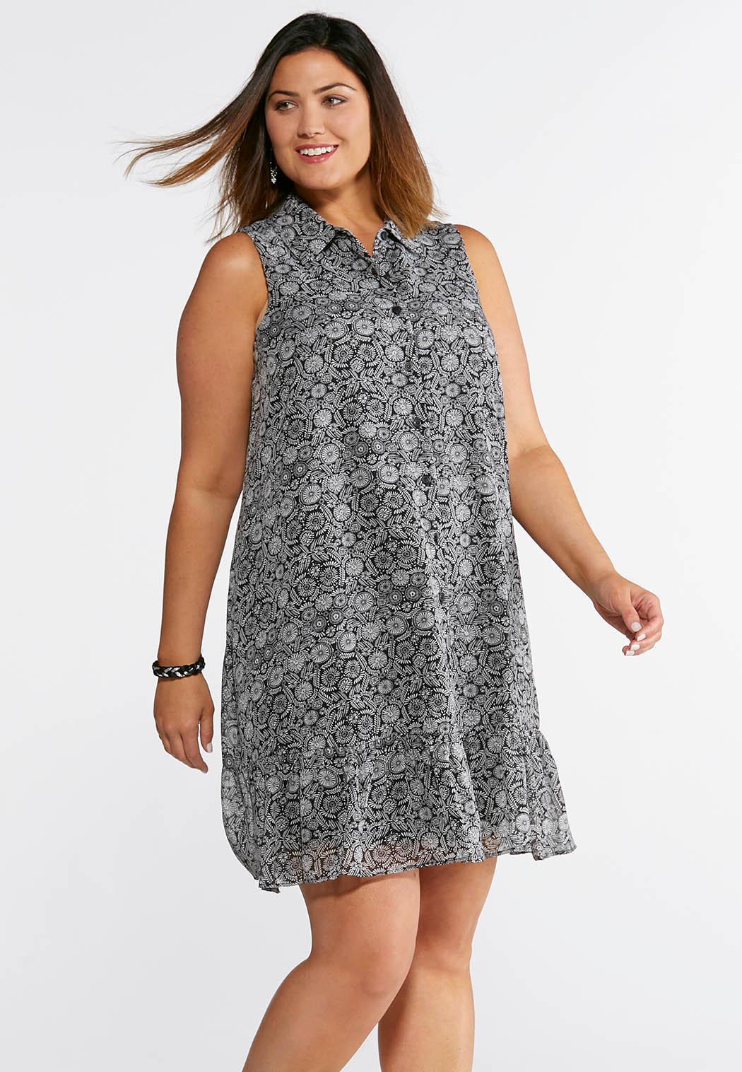 Plus Size Button Down Printed Shirt Dress Plus Sizes Cato Fashions
