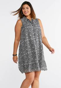 Plus Size Button Down Printed Shirt Dress