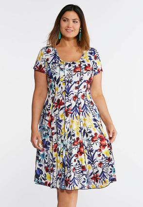 Plus Size Seamed Tropical Floral Dress | Tuggl