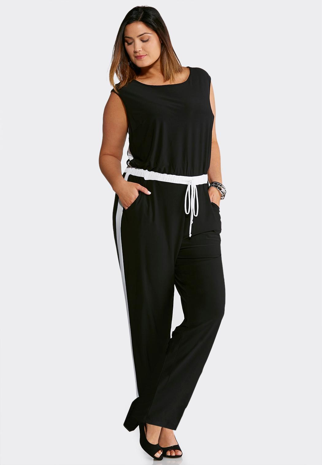 Plus Size Black And White Tie Waist Jumpsuit Dresses Cato Fashions