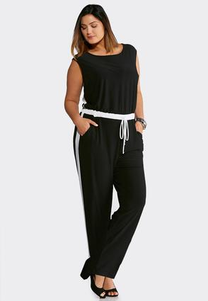Plus Size Black And White Tie Waist Jumpsuit
