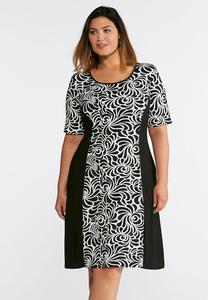 Plus Size Puff Print Swing Dress