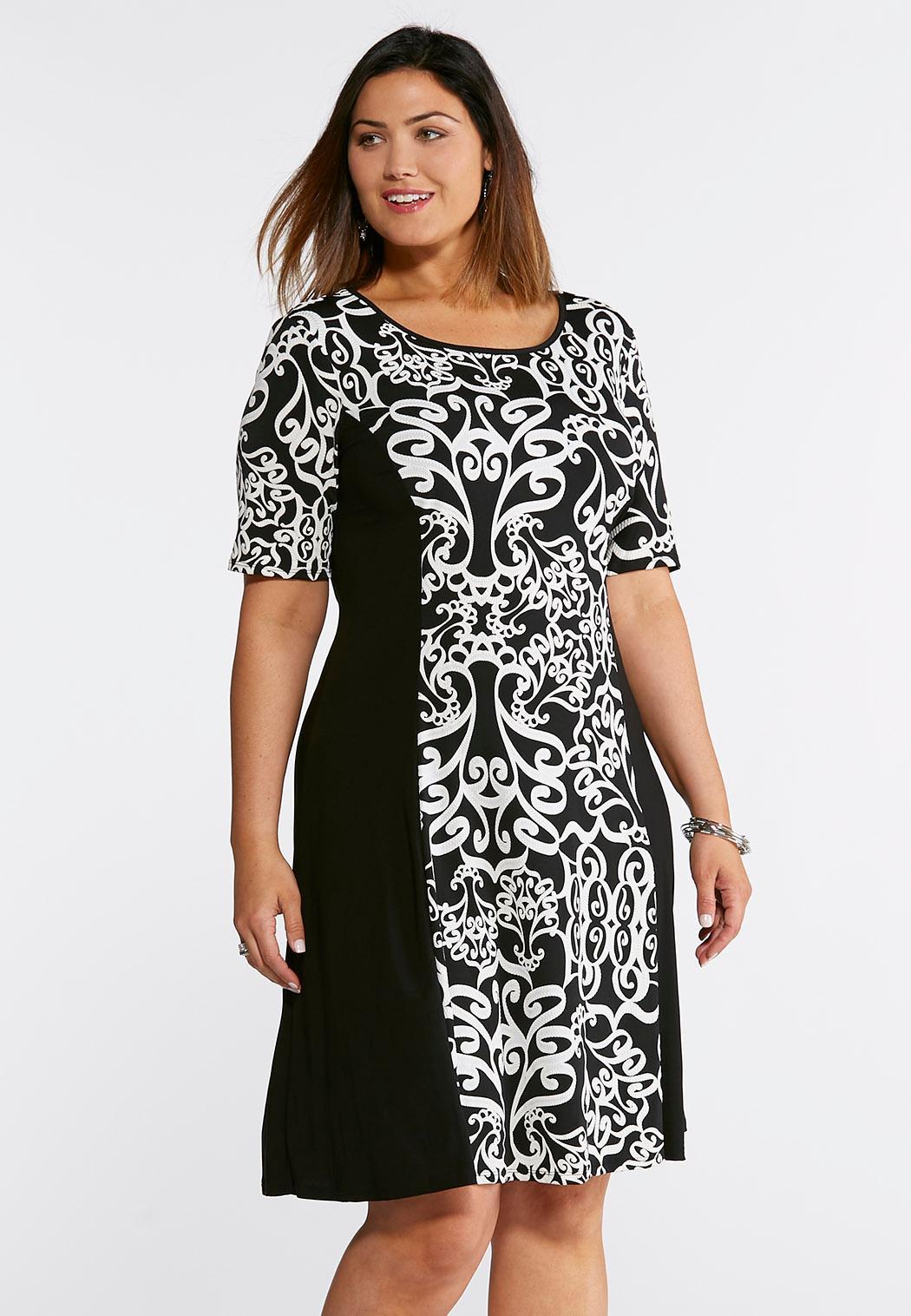Plus Size Scroll Panel Print Swing Dress Dresses Cato Fashions