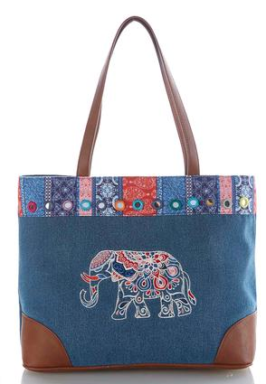 Elephant Embroidered Denim Tote at Cato in Brooklyn, NY | Tuggl