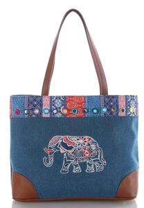 Elephant Embroidered Denim Tote