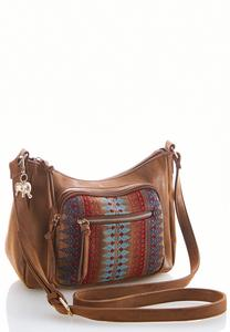 Faux Leather Embroidered Crossbody