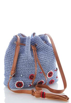 Beaded Straw Bucket Bag | Tuggl