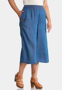 Plus Size Cropped Embroidered Chambray Pants