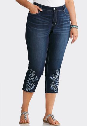 Plus Size Cropped Paisley Hem Jeans | Tuggl